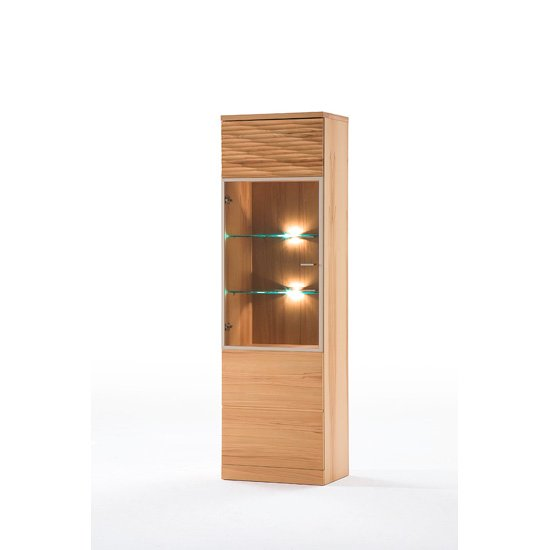Madea Left Hand Side Glass Door Wooden Display Cabinet With Led