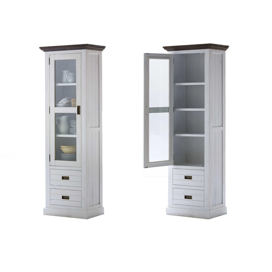 Gomera Display Cabinet In Acacia White Wood With Glass