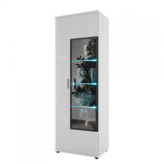 Corona Display Cabinet In White High Gloss Glass Left Hand Door