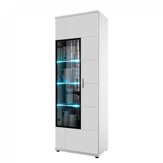 Corona Display Cabinet In White High Gloss Glass Right Hand