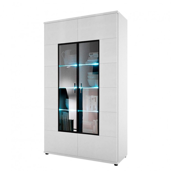 Corona Display Cabinet In White High Gloss With 2 Glass Doors