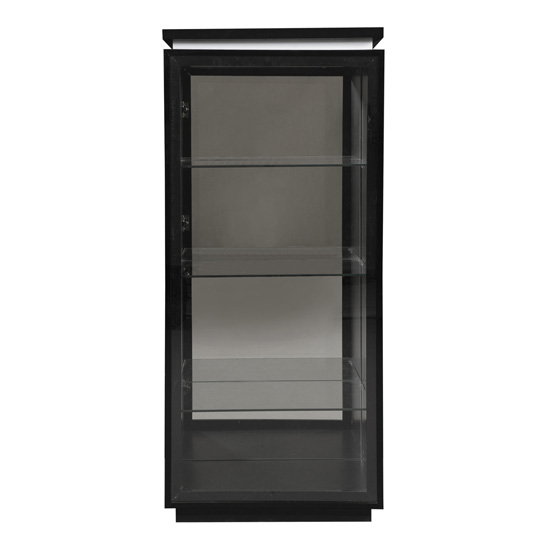 Elisa Display Cabinet In High Gloss Black With Glass Door