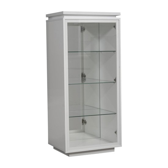 Elisa Display Cabinet In High Gloss White With 1 Glass Door