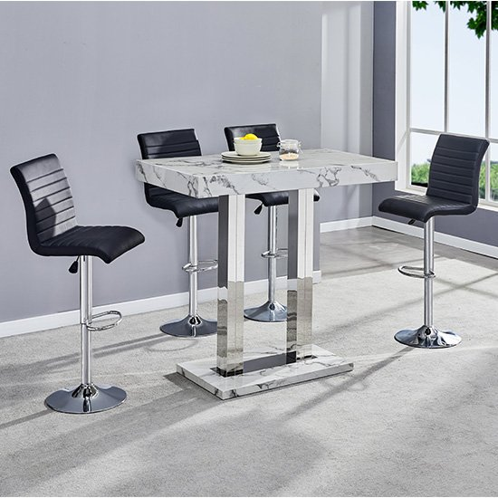 Diva Bar Table In Gloss Marble Effect And 4 Ripple Black Stools