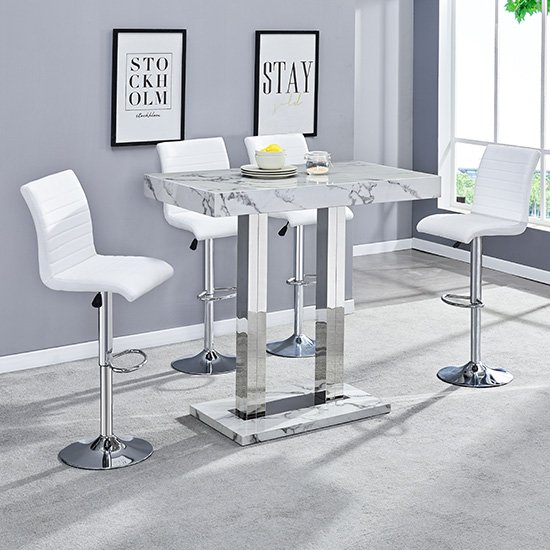 Diva Bar Table In Gloss Marble Effect And 4 Ripple White Stools