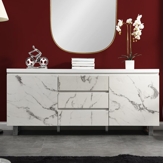 Diva Large White Gloss Sideboard With 3 Drawers And 2 Doors_2