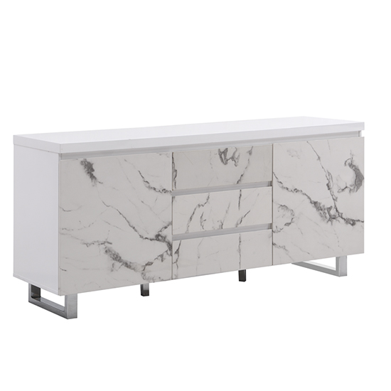 Diva Large White Gloss Sideboard With 3 Drawers And 2 Doors_3