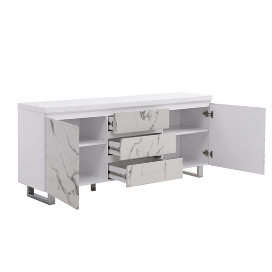 Diva Large White Gloss Sideboard With 3 Drawers And 2 Doors_4