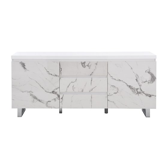 Diva Large White Gloss Sideboard With 3 Drawers And 2 Doors_6