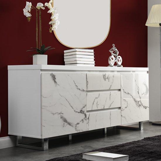 Diva Large White Gloss Sideboard With 3 Drawers And 2 Doors