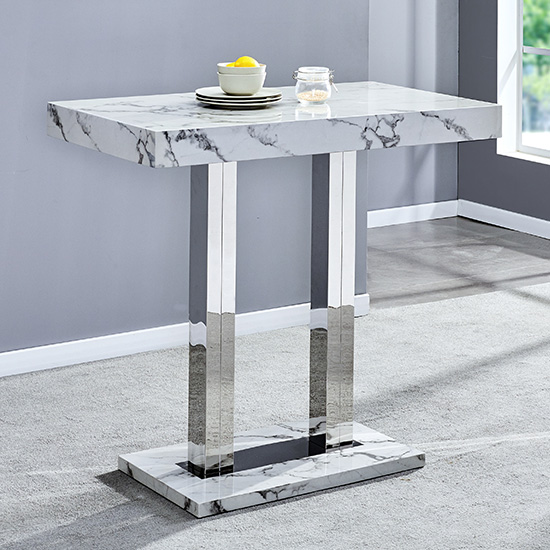 Diva Rectangular Bar Table In Gloss Marble Effect_1