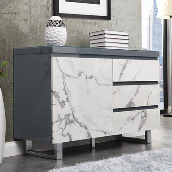 View Diva small grey gloss sideboard with 3 drawers and 1 door