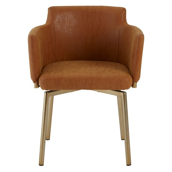 Chamukuy Dining Chair With Soft Faux Brown Leather