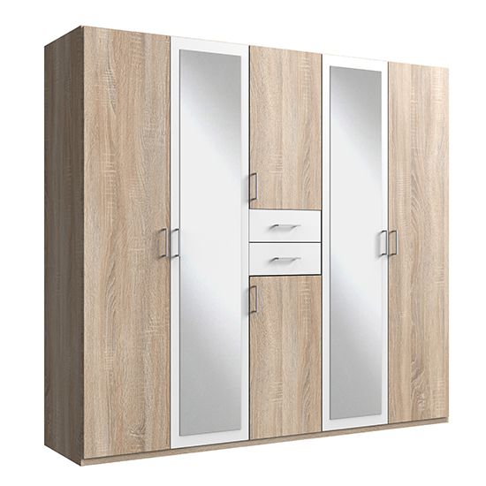 Diver Mirrored Wooden Wardrobe In Oak And White