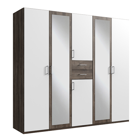 Diver Mirrored Wooden Wardrobe In White And Muddy Oak