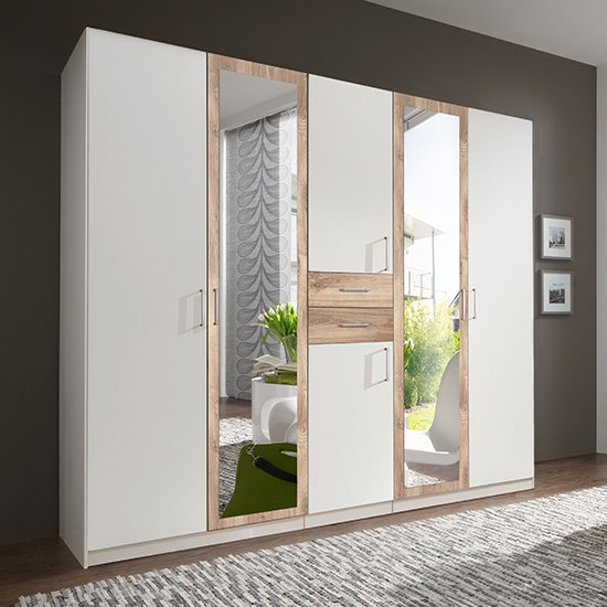 Diver Mirrored Wooden Wardrobe In White And Planked Oak