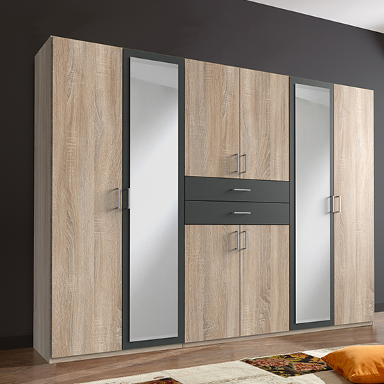 Diver Mirrored Wooden Wide Wardrobe In Oak And Graphite