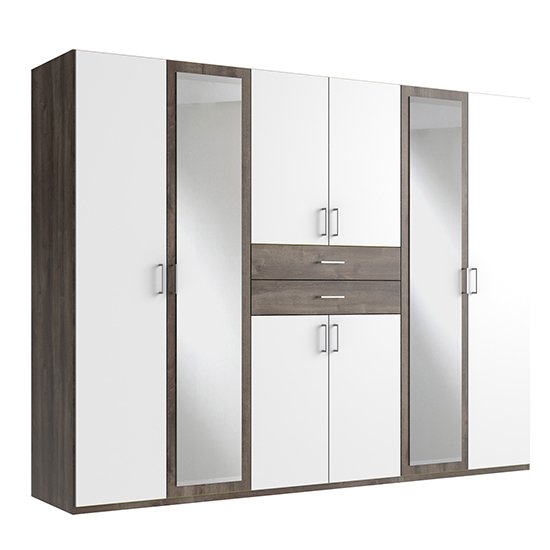 Diver Mirrored Wooden Wide Wardrobe In White And Muddy Oak