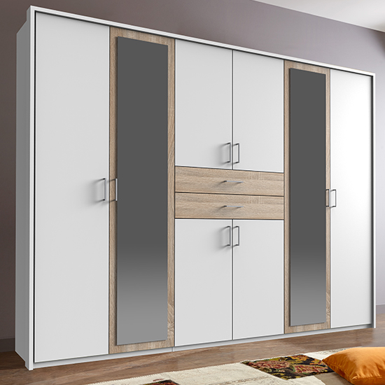Diver Mirrored Wooden Wide Wardrobe In White And Oak
