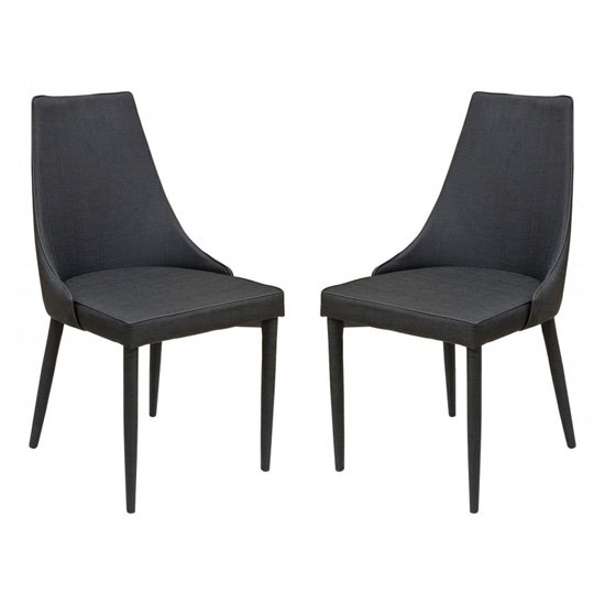 Divina Black Fabric Upholstered Dining Chairs In Pair_1