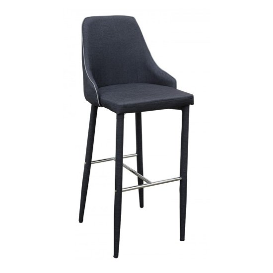 Divina Fabric Upholstered Bar Stool In Charcoal