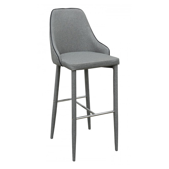 Divina Fabric Upholstered Bar Stool In Grey