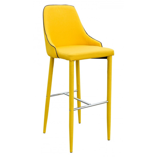 Divina Fabric Upholstered Bar Stool In Yellow