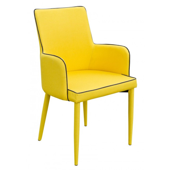 Divina Fabric Upholstered Carver Dining Chair In Yellow