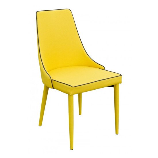 Divina Fabric Upholstered Dining Chair In Yellow