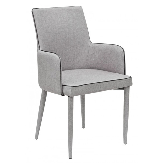 Divina Grey Fabric Upholstered Carver Dining Chairs In Pair_2