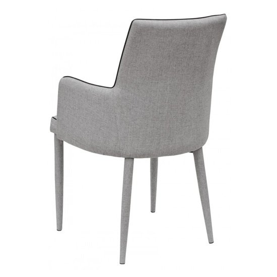 Divina Grey Fabric Upholstered Carver Dining Chairs In Pair_3