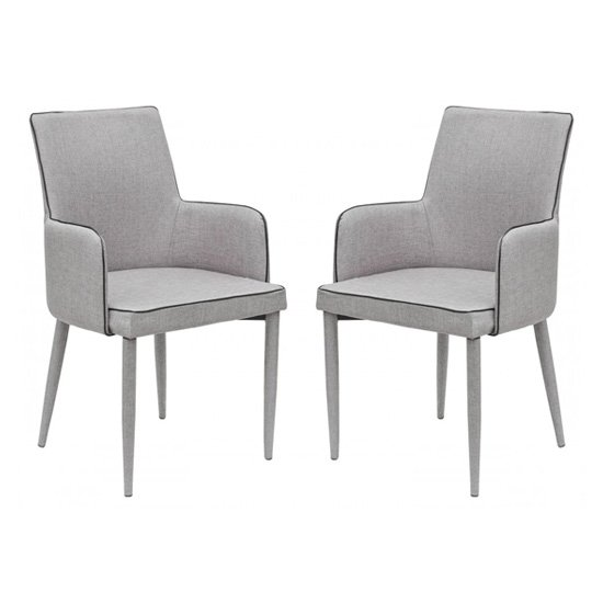 Divina Grey Fabric Upholstered Carver Dining Chairs In Pair