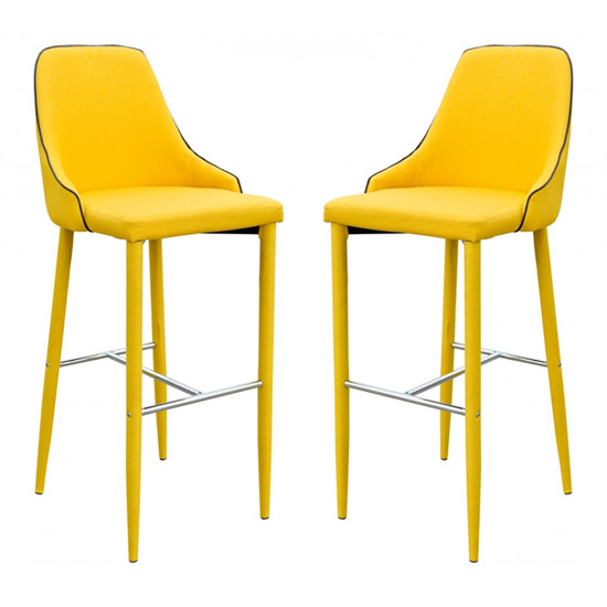 Divina Yellow Fabric Upholstered Bar Stools In Pair