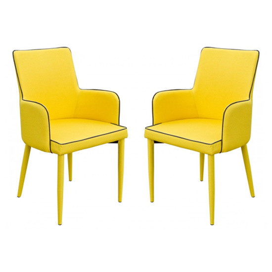 Divina Yellow Fabric Upholstered Carver Dining Chairs In Pair