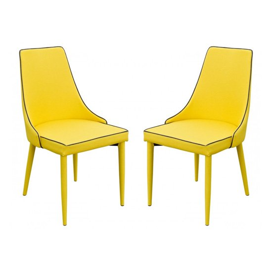 Divina Yellow Fabric Upholstered Dining Chairs In Pair