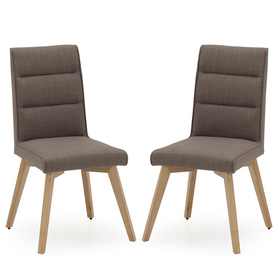 Divine Fabric Dining Chair In Grey With Oak Legs In A Pair
