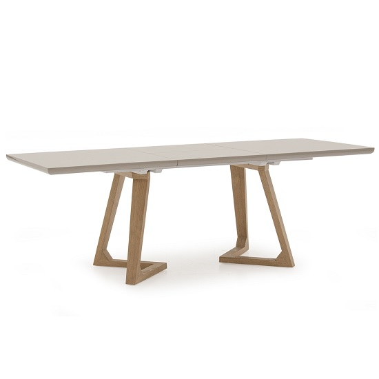 Divine Extendable Dining Table In Grey Gloss With Oak Legs_1