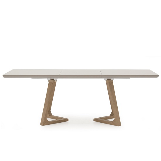 Divine Extendable Dining Table In Grey Gloss With Oak Legs_2
