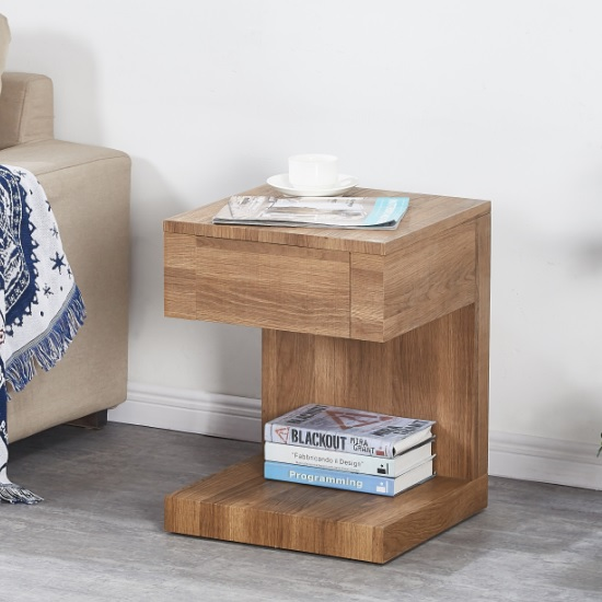 Dixon Wooden Bedside Table In Dark Oak With 1 Drawer
