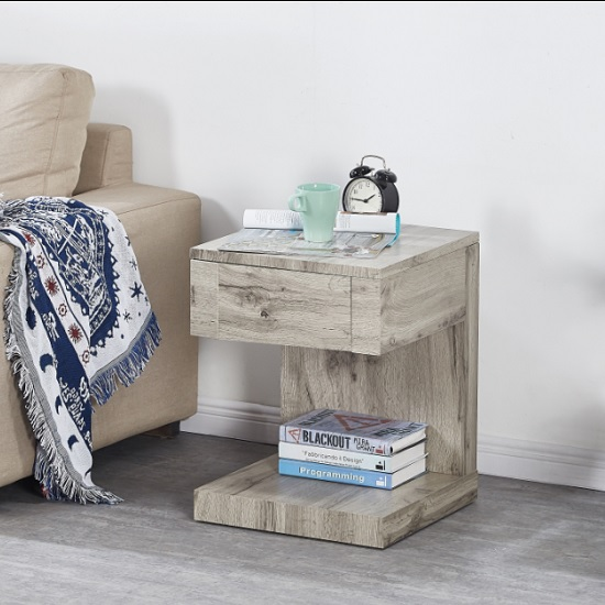 Dixon Wooden Bedside Table In Grey Oak Effect With 1 Drawer