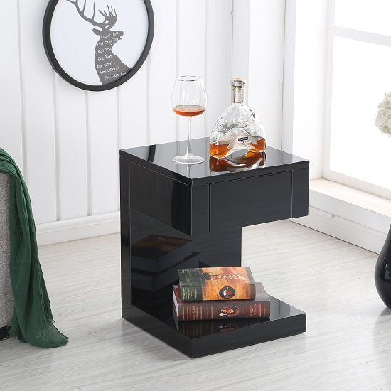 Dixon Bedside Table In Black High Gloss With 1 Drawer 28934
