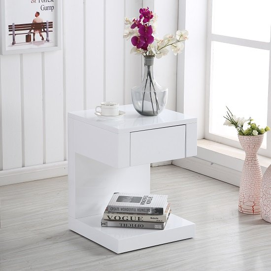 Read more about Dixon bedside table in white high gloss with 1 drawer