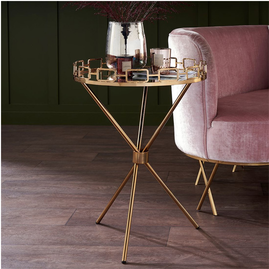 Dofida Mirrored Top Round Drinks Trolley In Antique Gold