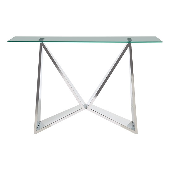 Alluras Clear Glass Console Table With Winged Shape Base