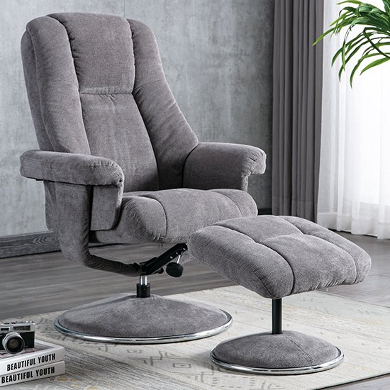 View Dollis fabric swivel recliner chair and footstool in ash