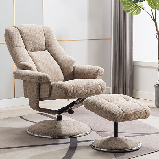Dollis Fabric Swivel Recliner Chair And Footstool In Biscotti_3
