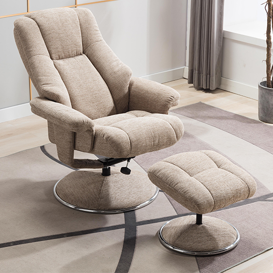 Dollis Fabric Swivel Recliner Chair And Footstool In Biscotti_4