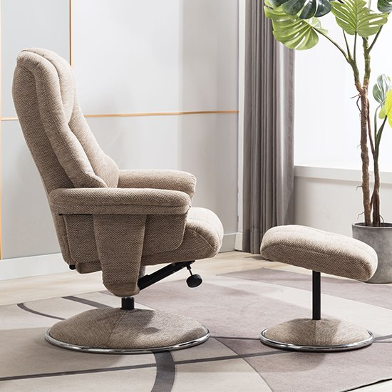 Dollis Fabric Swivel Recliner Chair And Footstool In Biscotti_6