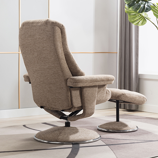 Dollis Fabric Swivel Recliner Chair And Footstool In Biscotti_7