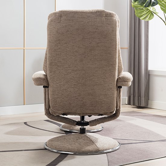 Dollis Fabric Swivel Recliner Chair And Footstool In Biscotti_8